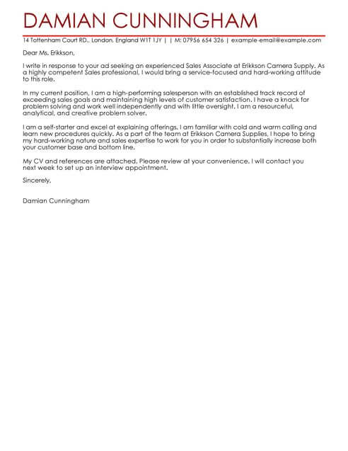 Sales Cover Letter Templates Cover Letter Templates  Examples