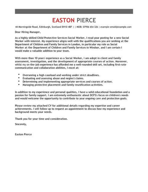 Social Services Cover Letter Templates Cover Letter Templates