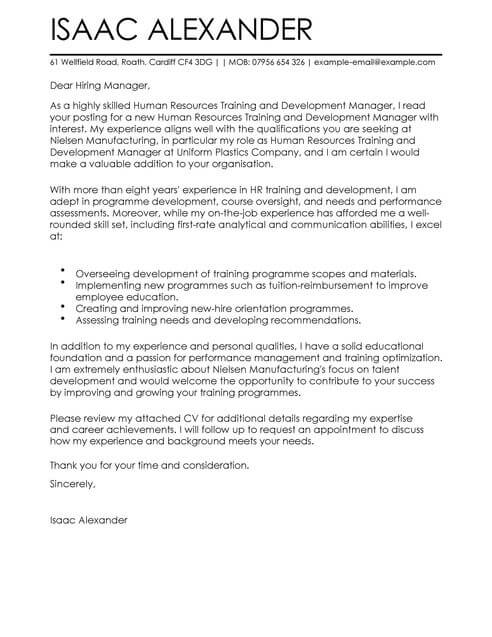 Training and Development Cover Letter Template Cover Letter - hr cover letter examples