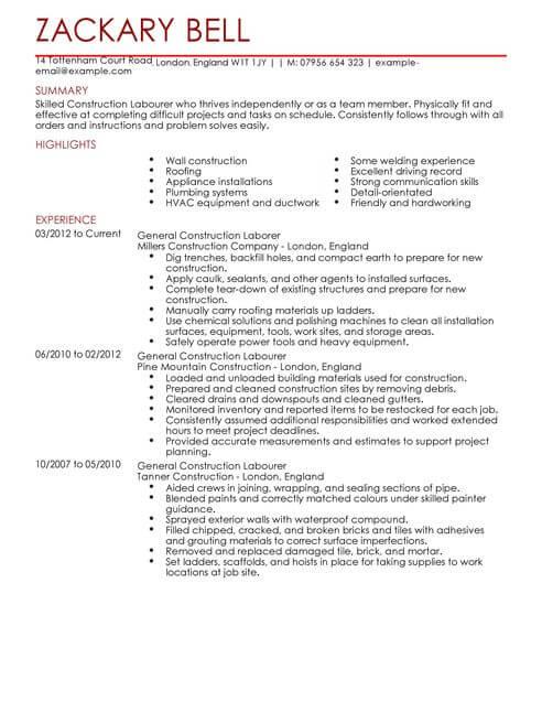 resume templates labourer
