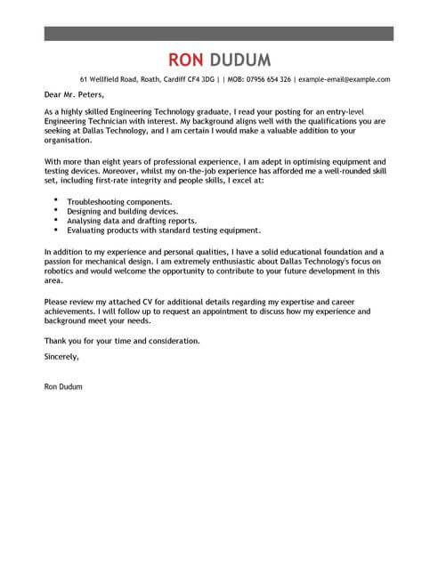 Engineering Technician Cover Letter Examples LiveCareer - cover letter examples engineering