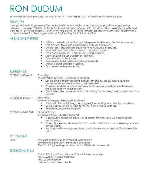 Engineering Technician CV Template CV Samples  Examples