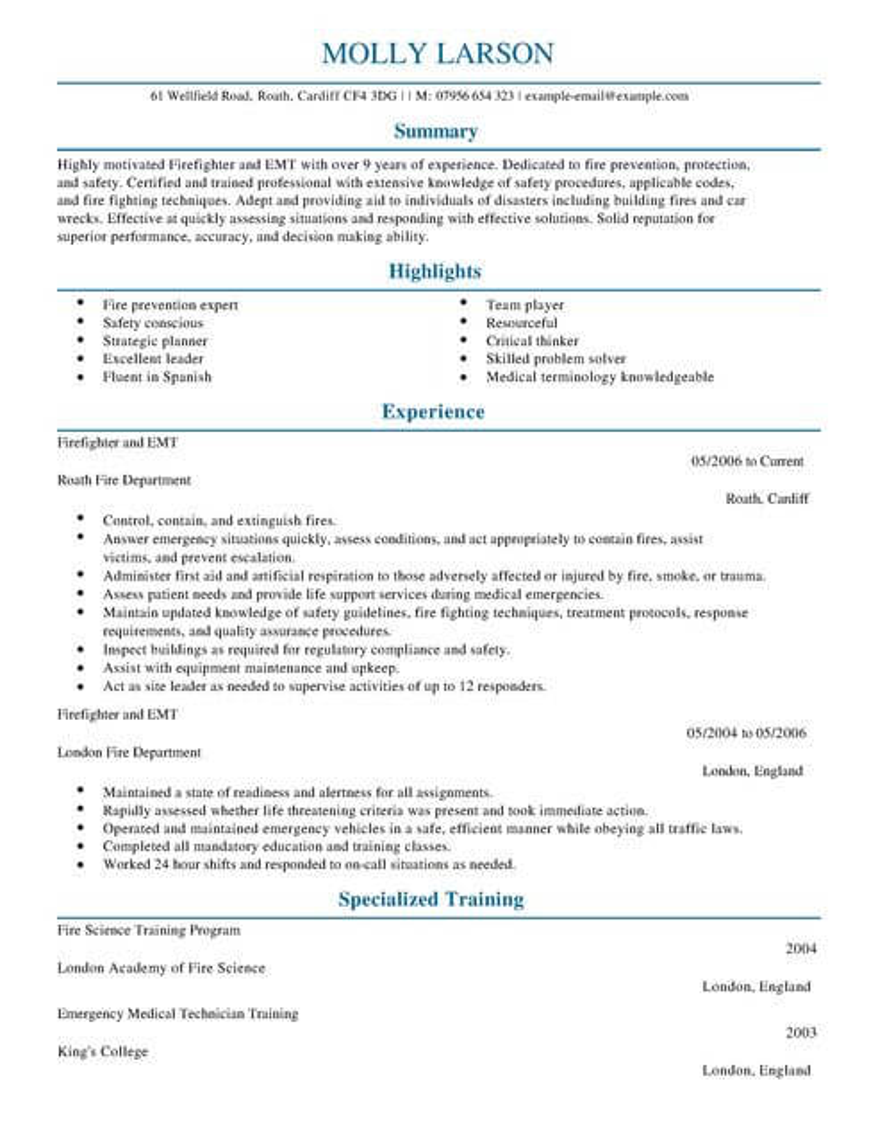 Firefighter CV Template CV Samples  Examples
