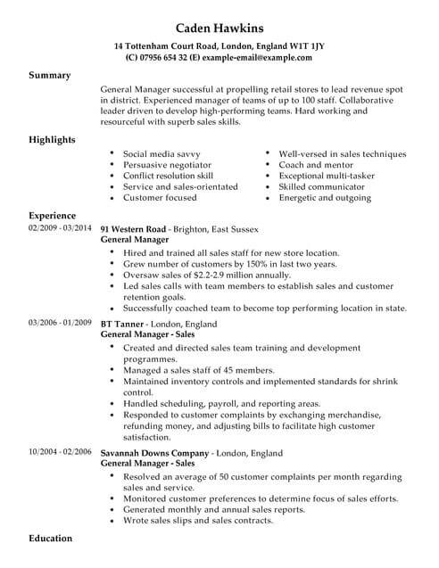 Sales CV Templates CV Samples  Examples