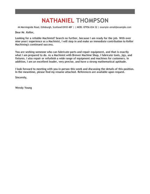Machinist Cover Letter Template Cover Letter Templates  Examples