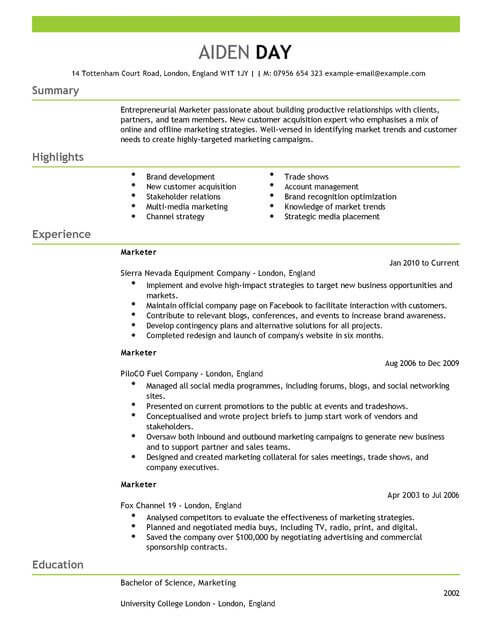 cv format brand marketing