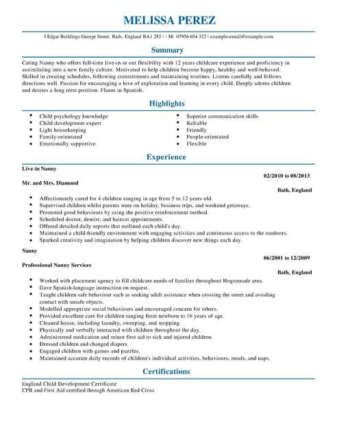 Nanny CV Example for Personal Services LiveCareer