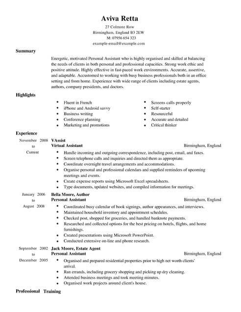Personal Assistant CV Example for Admin LiveCareer - Virtual Travel Agent Sample Resume