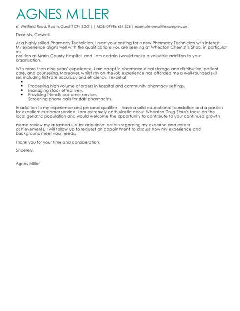 Pharmacy Technician Cover Letter Examples for Healthcare LiveCareer - Cover Letters Examples