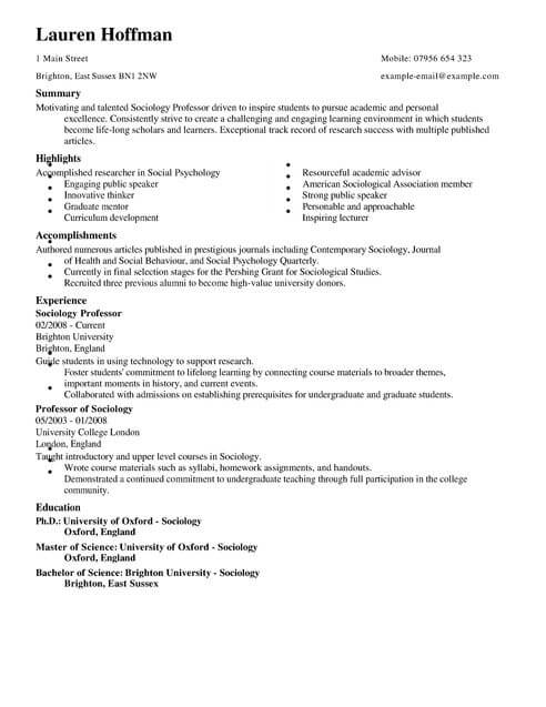Professor CV Template CV Samples  Examples