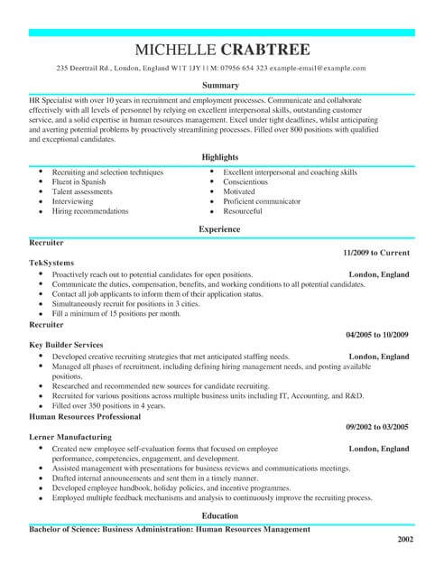 cv template recruiter