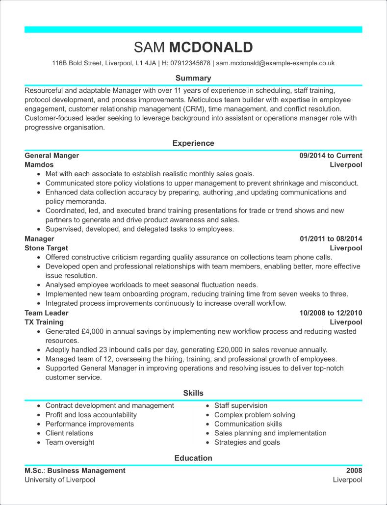 Sales Assistant CV Template CV Samples  Examples