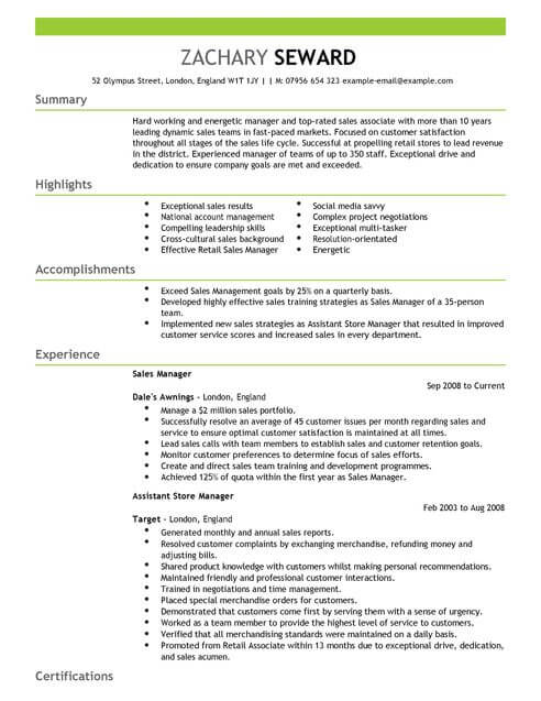 example of cv in english sales manager