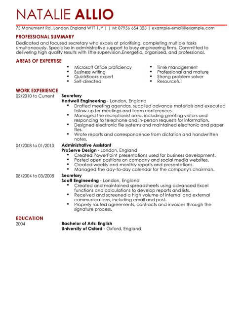 Secretary Admin Assistant CV Template CV Samples  Examples