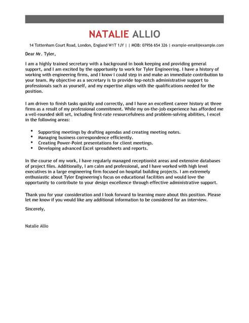 Secretary Cover Letter Examples for Admin LiveCareer - good resume cover letter examples