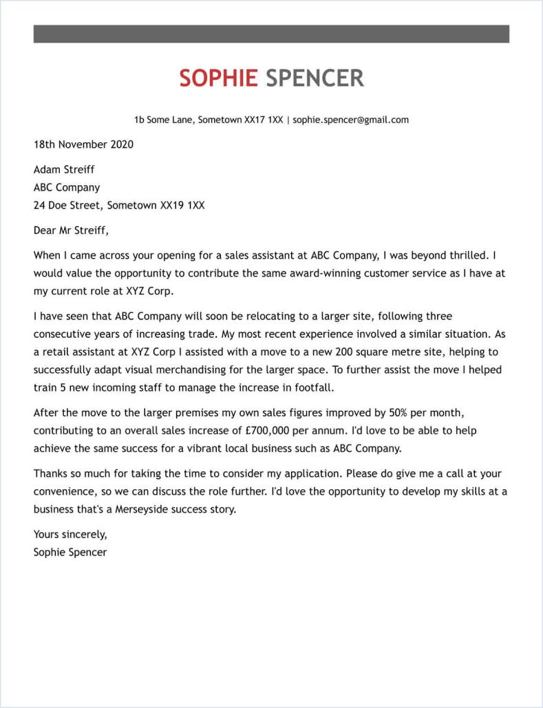secretarial cover letter sample