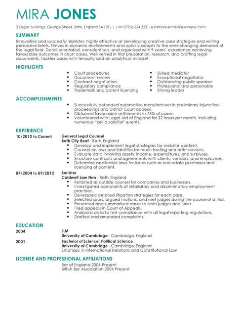 Solicitor CV Template CV Samples  Examples