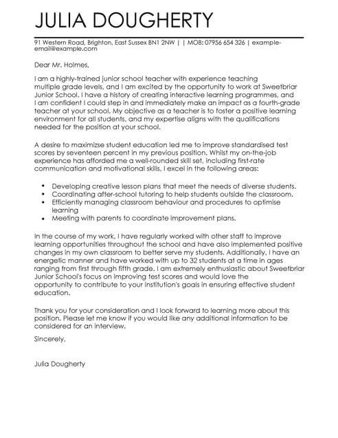 Teacher Education Cover Letter Examples for Education LiveCareer - Letter To A Teacher