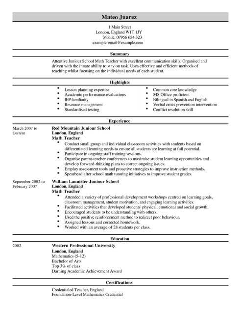 cv teacher model uk