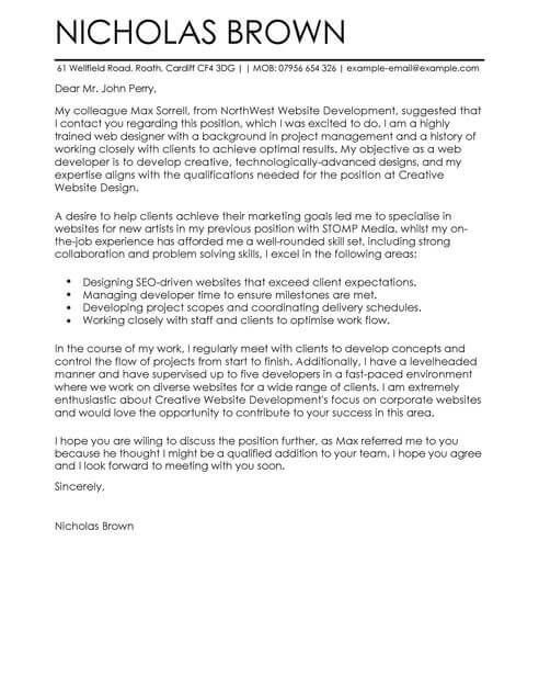 Web Developer Cover Letter Examples for It LiveCareer - cover letter it job