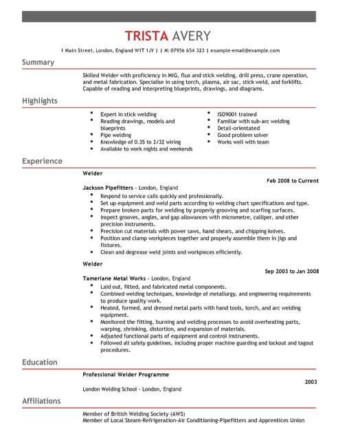 professional welder resume - Kenicandlecomfortzone