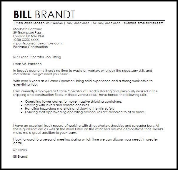 sample crane operator resume example