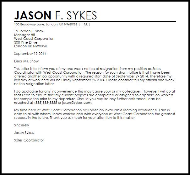 1 week notice letter