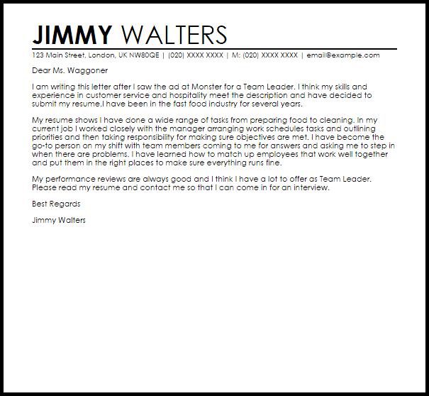 sample cover letter for team leader position