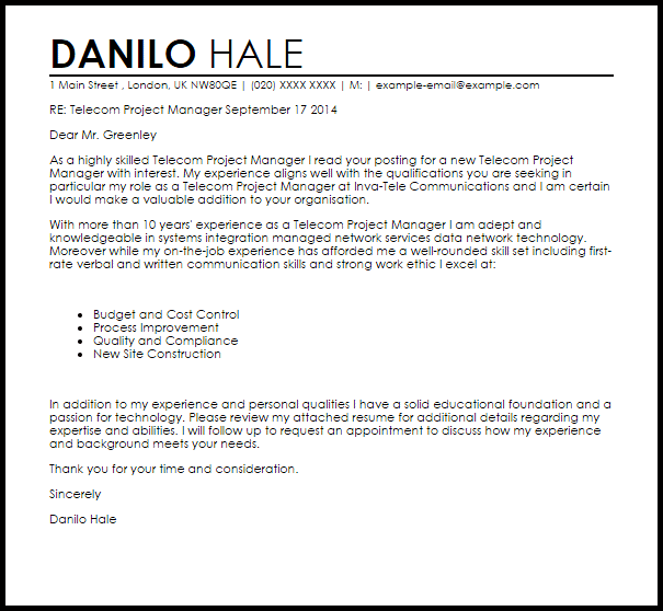 resume cover letter samples for project manager