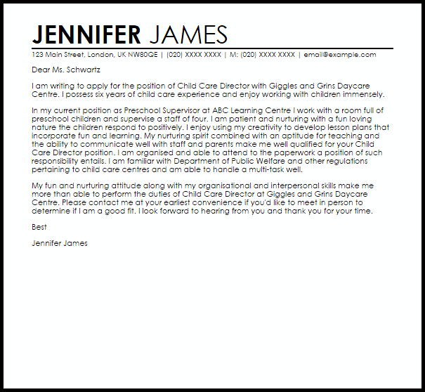 childcare cover letter examples