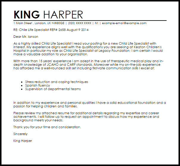 resume template for child life specialist