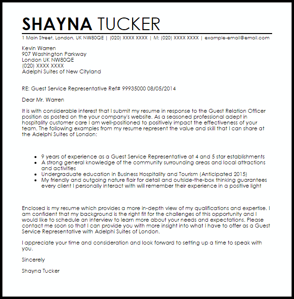 cover letter for client service representative