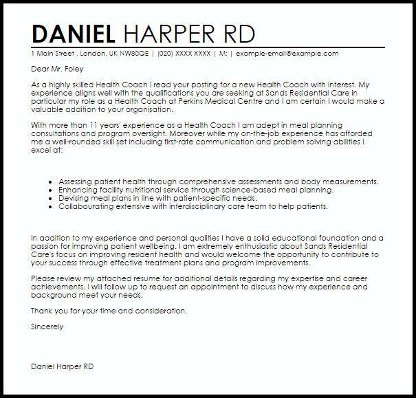 Health Coach Resume Template