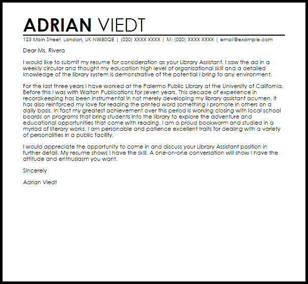 Library Assistant Cover Letter - Resume Examples | Resume Template