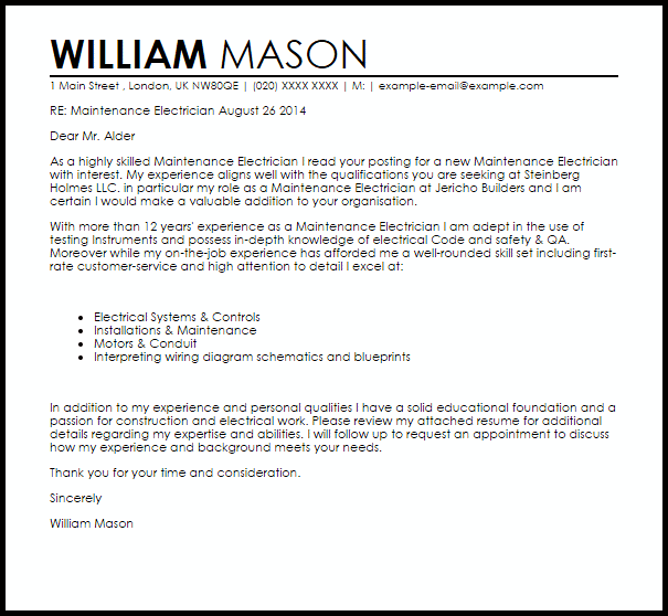 electrician resume cover letter examples