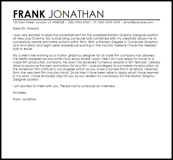 motion graphics cover letter