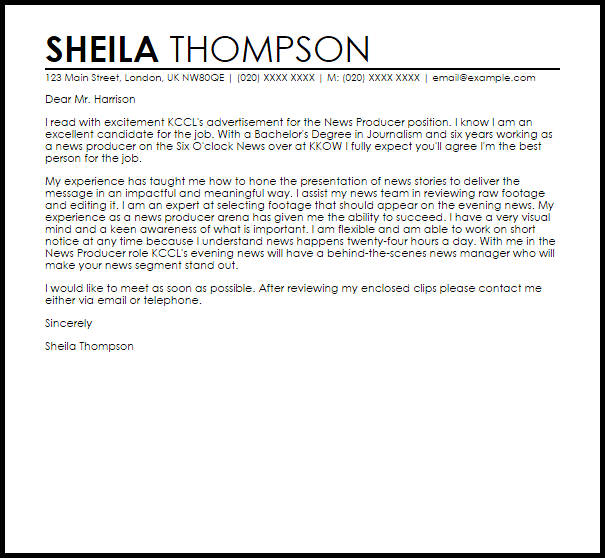 news producer cover letter