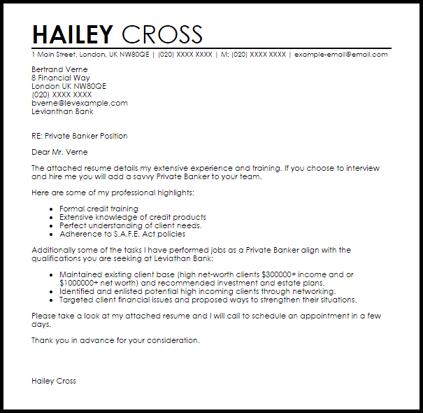 cover letter personal banker