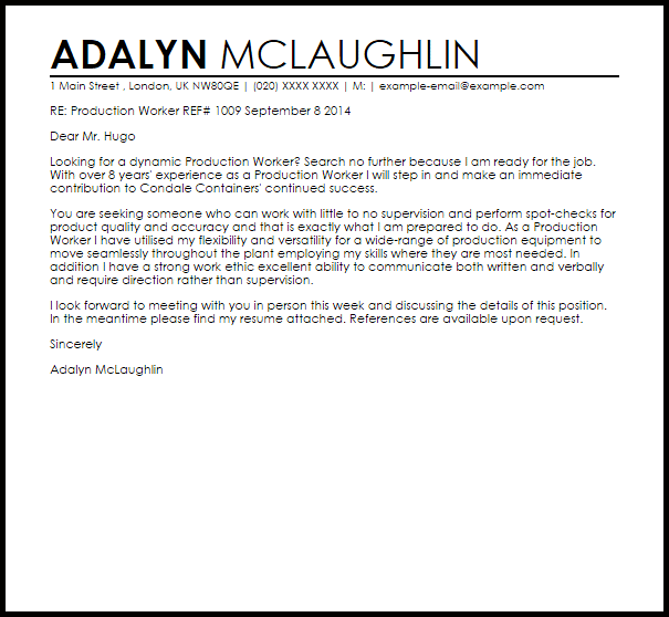 cover letter for production job