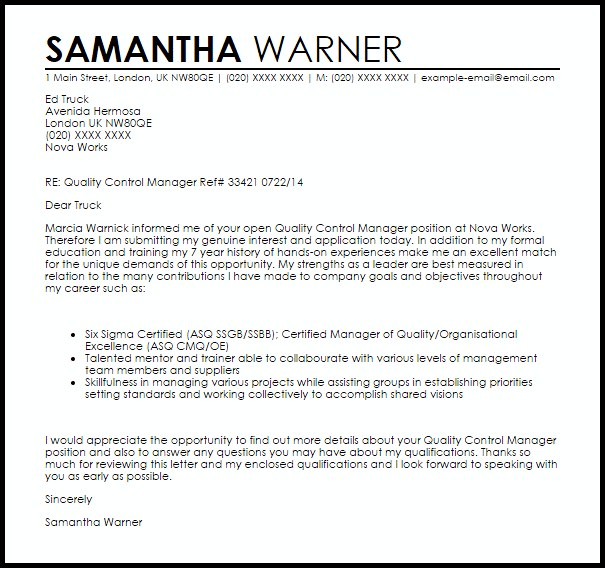 cover letter for training manager