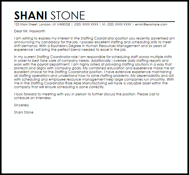 scheduling coordinator cover letter