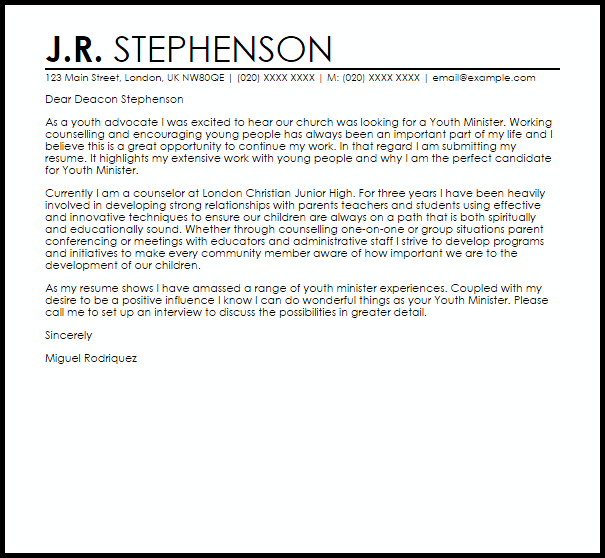 pastoral cover letter sample