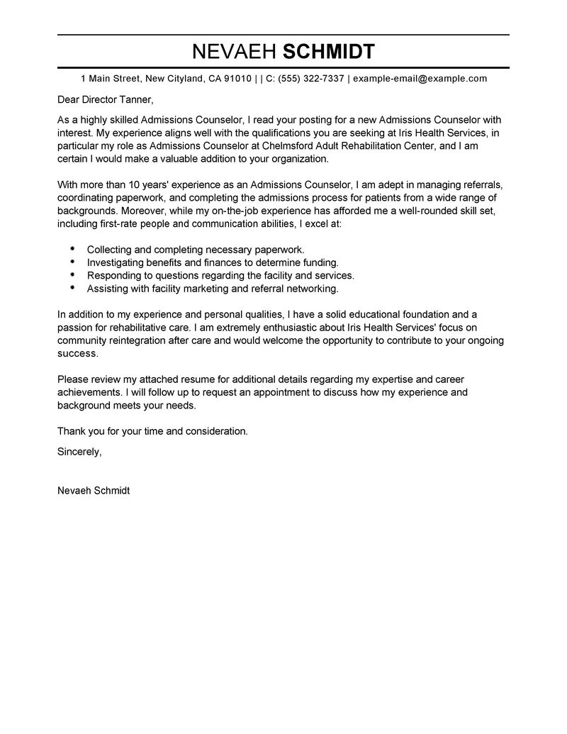 Cover Letter For Admissions Counselor Images - Cover Letter Ideas