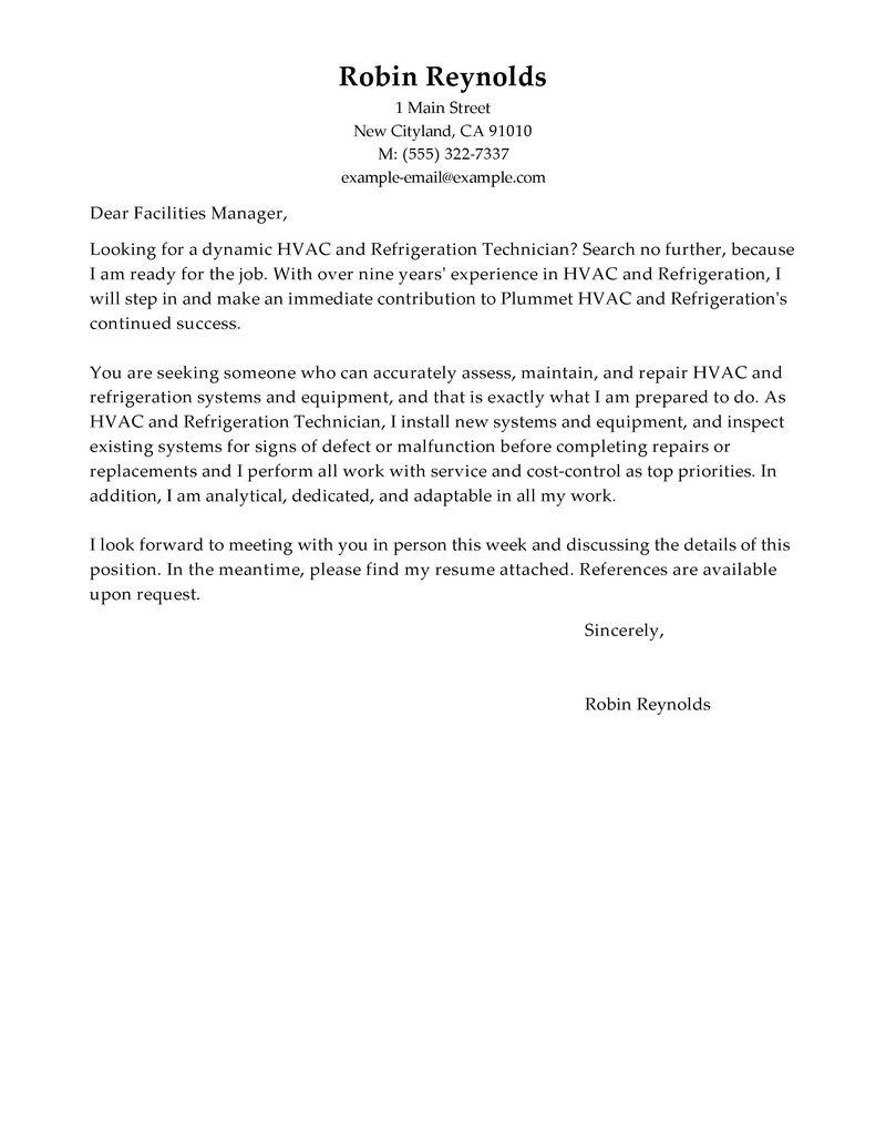 Cover letter hvac job