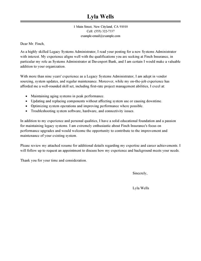 It Systems Administrator Cover Letter