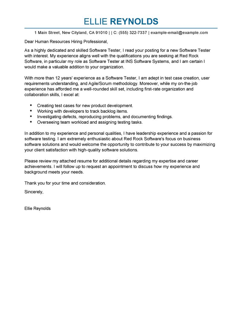 Cover Letter Writing Software | Sample Document Resumes