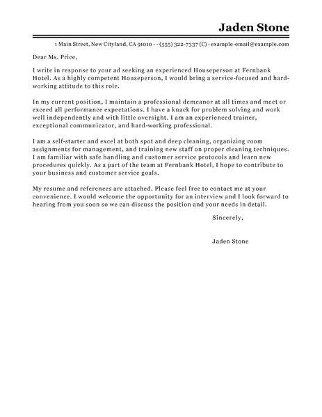 sample cover letter for job application in hospitality