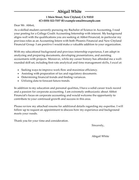 sample cover letter for college student seeking internship