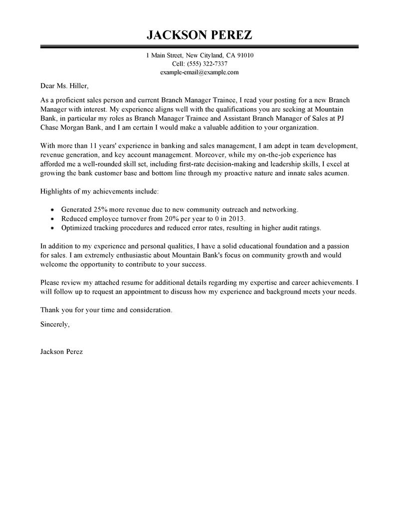 Retail Manager Resume Sample Monster Best Branch Manager Trainee Cover Letter Examples Livecareer