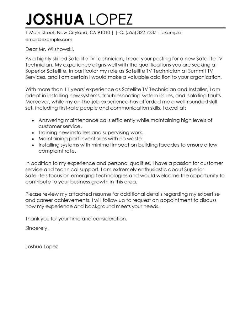 satellite technician resume sample